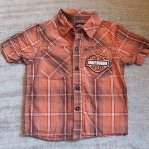 Harley-Davidson 2T, collar, orange button-up Shirt